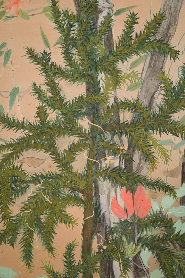 Lovely trees with pine and azelea. Mineral pigment on paper. Showa period (1926-1989).
