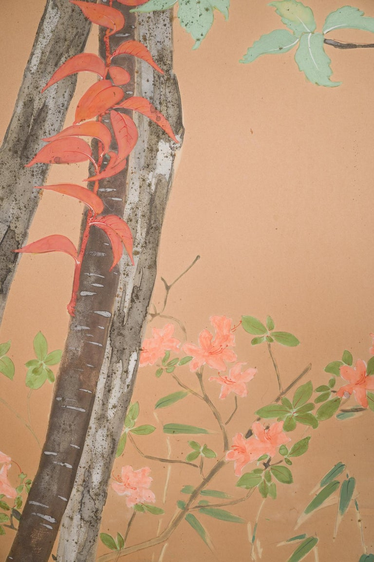 Japanese Two Panel Screen Beautifully Colored, Wooded and Floral Landscape In Good Condition For Sale In Hudson, NY
