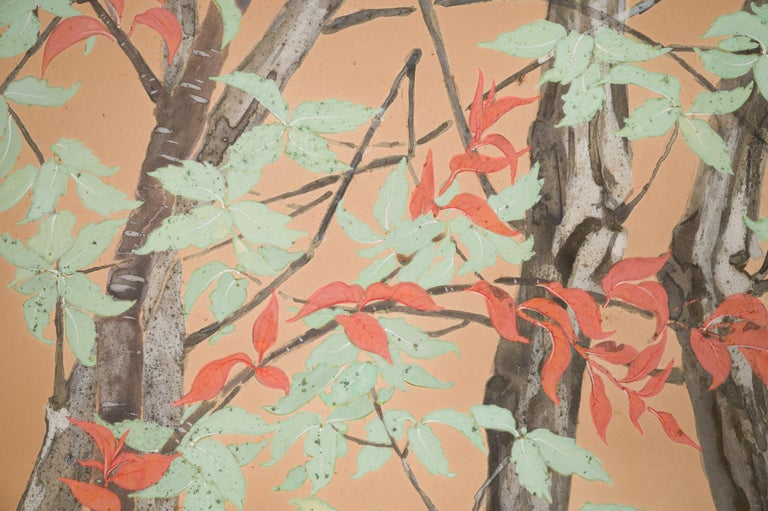 20th Century Japanese Two Panel Screen Beautifully Colored, Wooded and Floral Landscape For Sale
