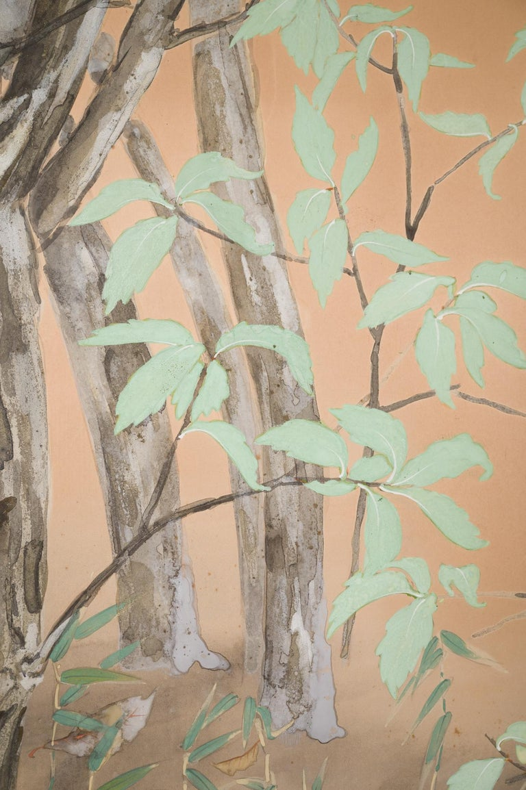 Paper Japanese Two Panel Screen Beautifully Colored, Wooded and Floral Landscape For Sale