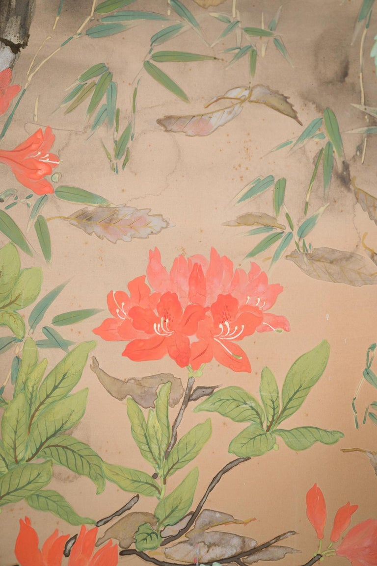 Japanese Two Panel Screen Beautifully Colored, Wooded and Floral Landscape For Sale 1