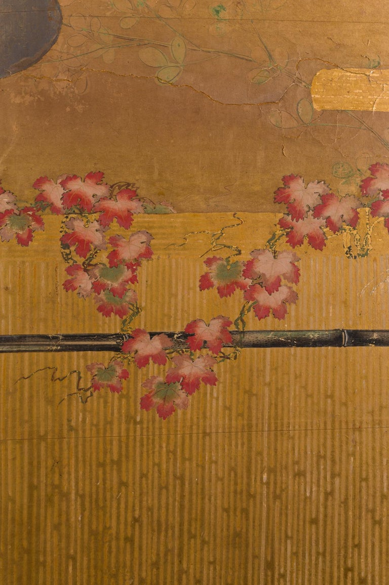 Edo Japanese Two-Panel Screen Birds on a Fence For Sale