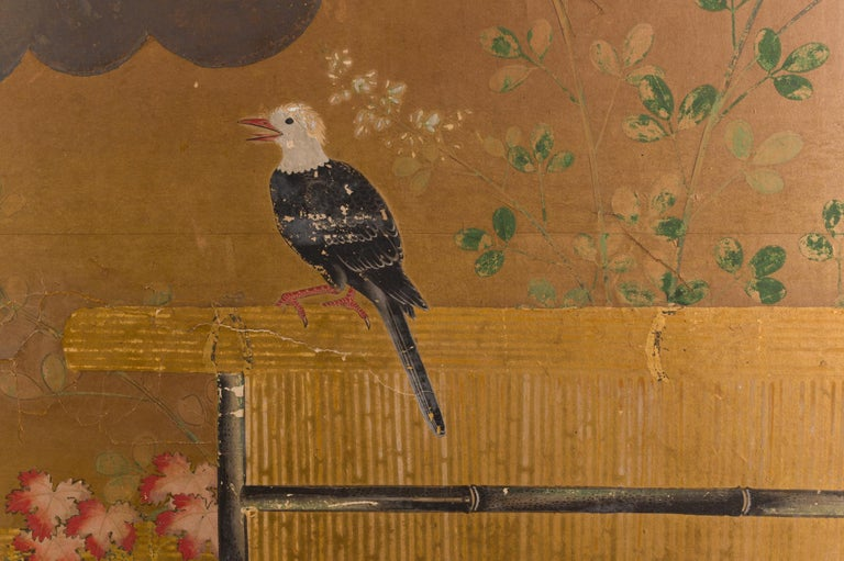Japanese Two-Panel Screen Birds on a Fence In Good Condition For Sale In Hudson, NY