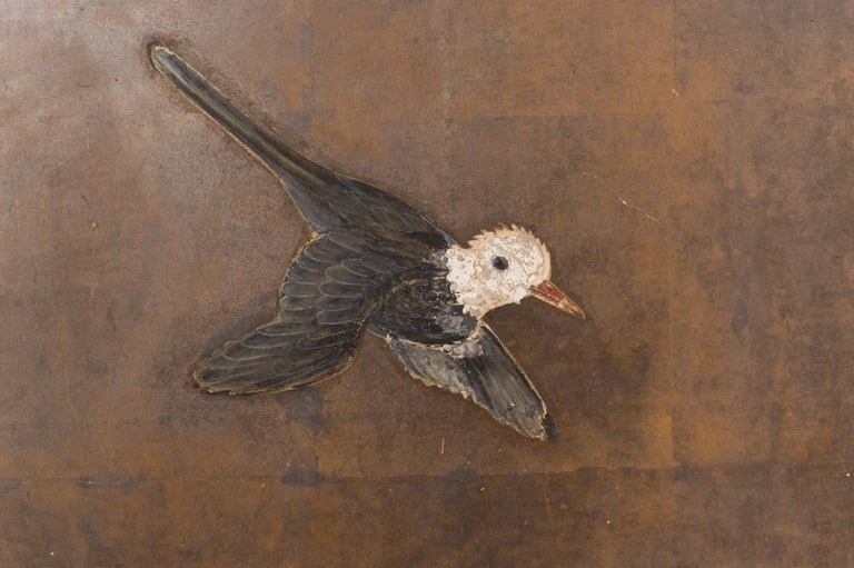 18th Century and Earlier Japanese Two-Panel Screen Birds on a Fence For Sale