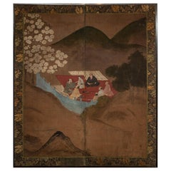 Japanese Two Panel Screen, Cherry Blossoms Viewing Party