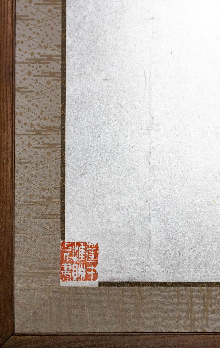 Japanese Two-Panel Screen Chinese Style Painting with Calligraphy For Sale 4