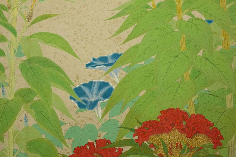 Nihonga style, finely painted spring flowers with a dragonfly detail in mineral pigments on silk. Signed and sealed: