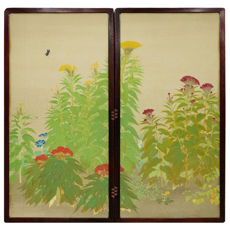 Japanese Two-Panel Screen, Cockscomb and Morning Glories For Sale