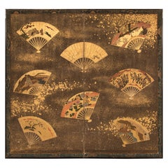 Japanese Two-Panel Screen Collection of Fans on Gold