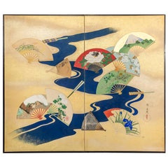 Japanese Two-Panel Screen, Deco Landscape with River Fans