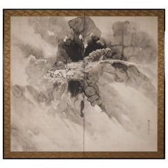 Japanese Two Panel Screen Dragon in the Mist