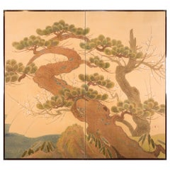 Japanese Two-Panel Screen, Embroidered Pine at Water's Edge
