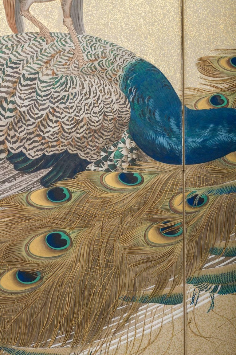 Japanese Two-Panel Screen, Family of Peafowl In Good Condition For Sale In Hudson, NY