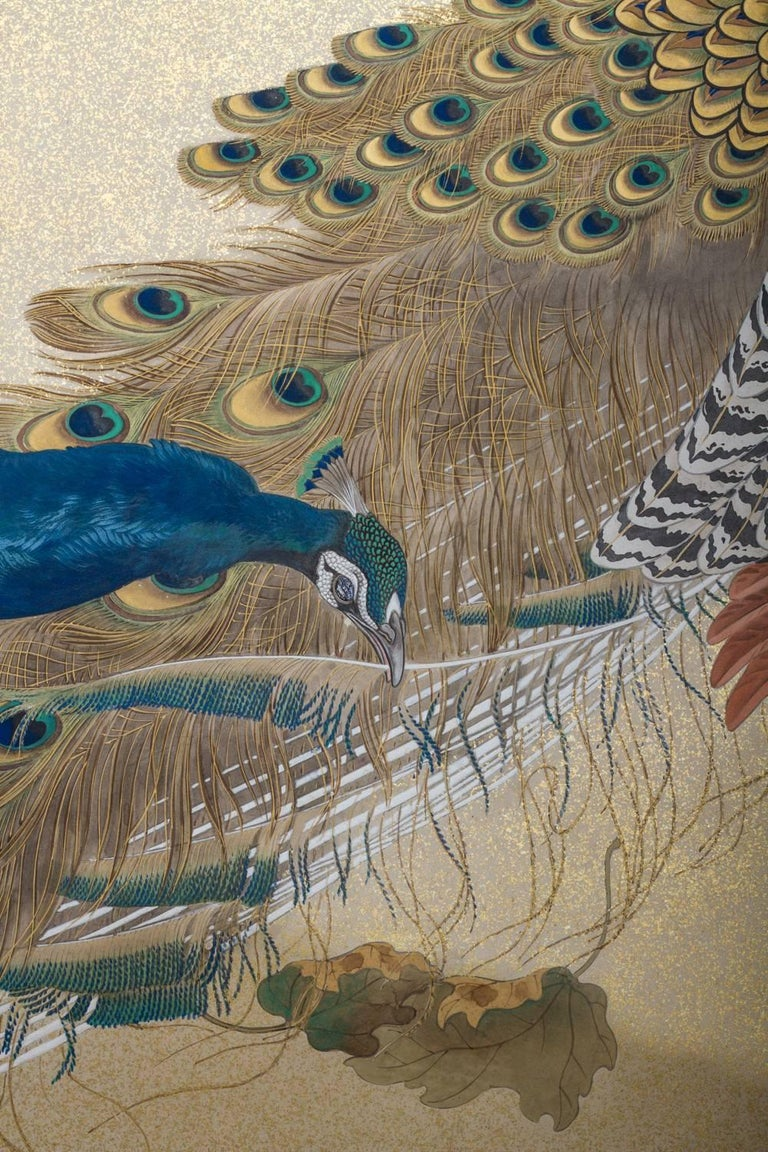 20th Century Japanese Two-Panel Screen, Family of Peafowl For Sale