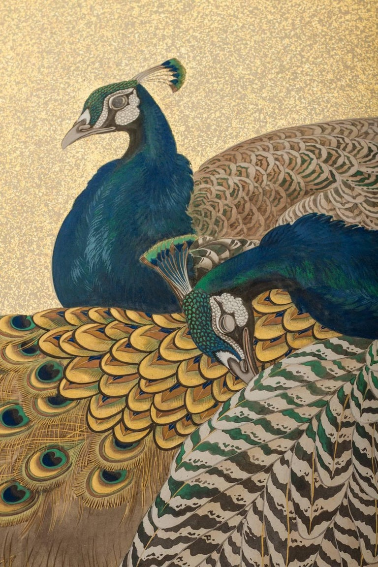 Gold Japanese Two-Panel Screen, Family of Peafowl For Sale