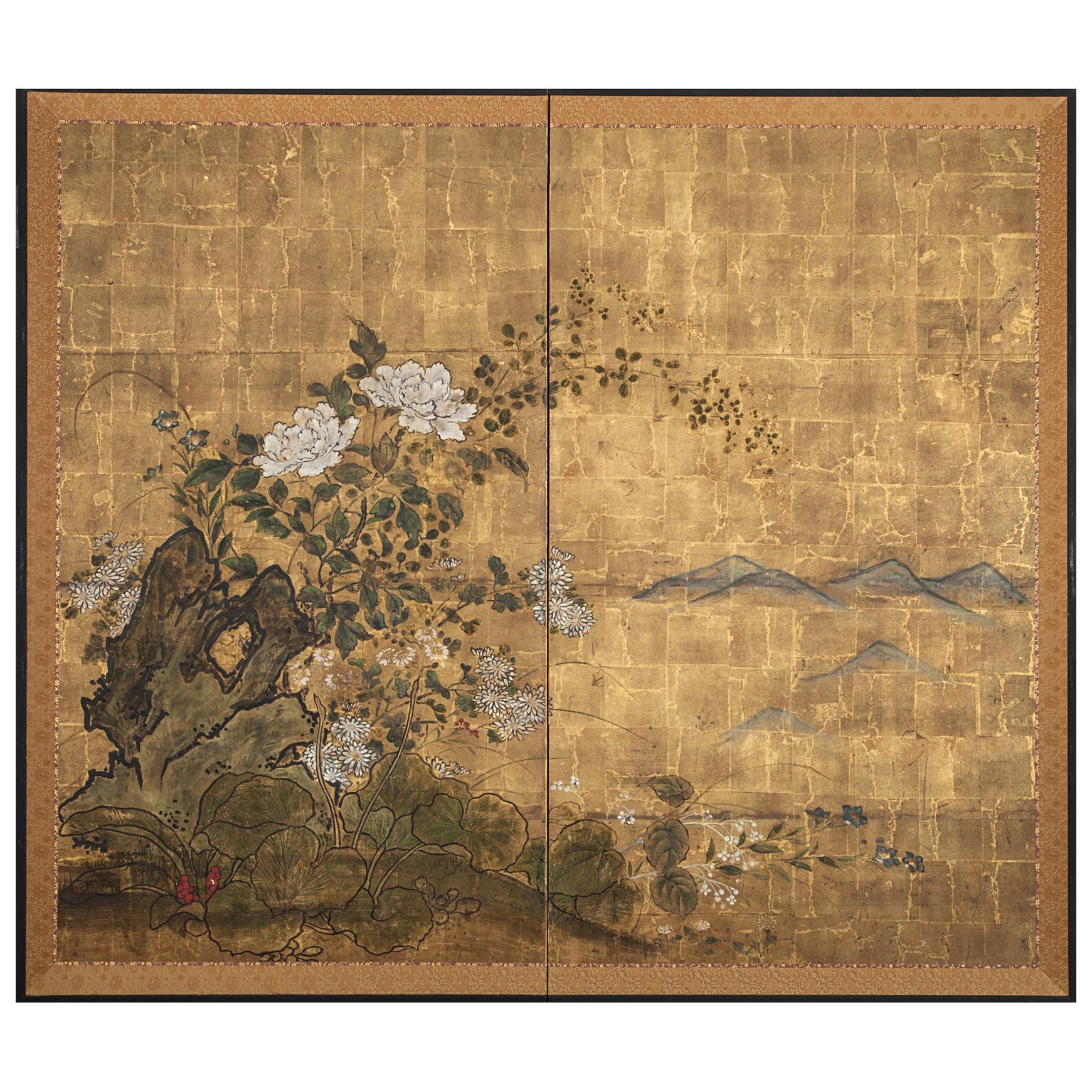 Japanese Two-Panel Screen, Floral Garden on Gold