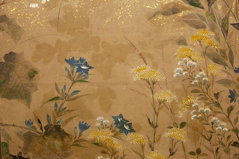 Japanese Two-Panel Screen, Flower Garden For Sale 1