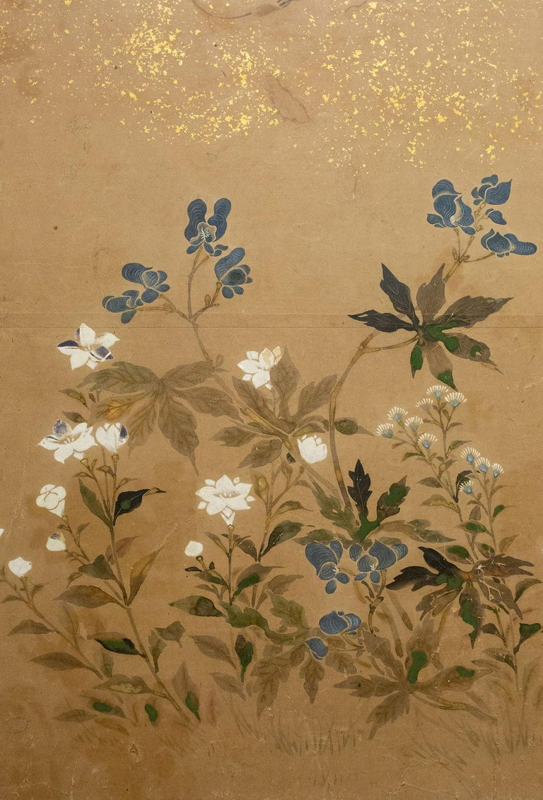 Japanese Two-Panel Screen, Flower Garden For Sale 3