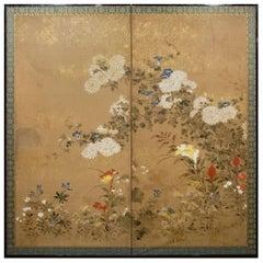 Japanese Two-Panel Screen, Flower Garden
