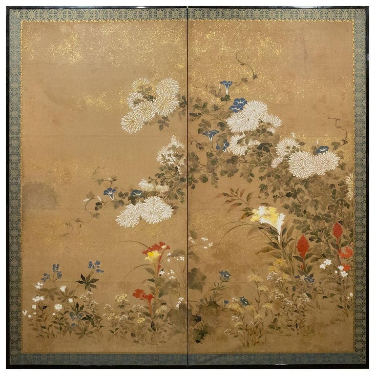 Japanese Two-Panel Screen, Flower Garden For Sale