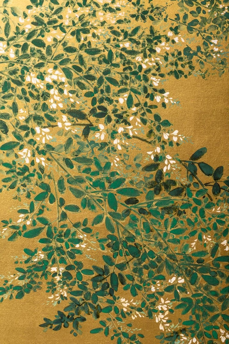 Showa Japanese Two Panel Screen: Flowering Hedge (Japanese Privet) For Sale