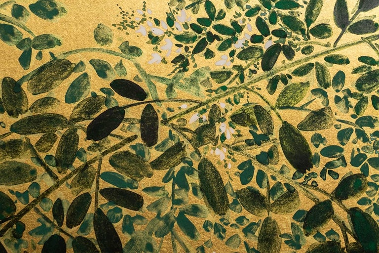20th Century Japanese Two Panel Screen: Flowering Hedge (Japanese Privet) For Sale