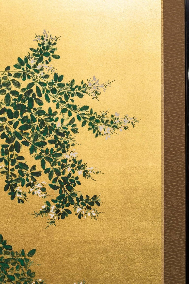 Japanese Two Panel Screen: Flowering Hedge (Japanese Privet) For Sale 1