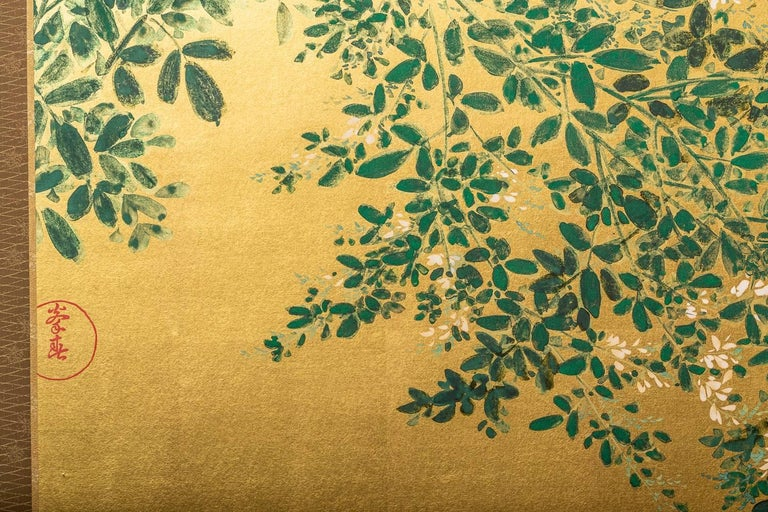 Japanese Two Panel Screen: Flowering Hedge (Japanese Privet) For Sale 2