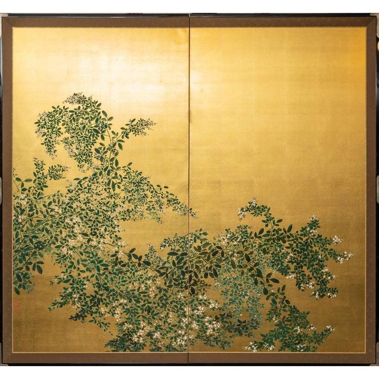 Japanese Two Panel Screen: Flowering Hedge (Japanese Privet) For Sale