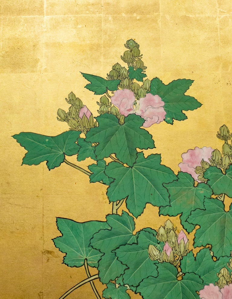 Edo Japanese Two-Panel Screen, Hollyhocks For Sale