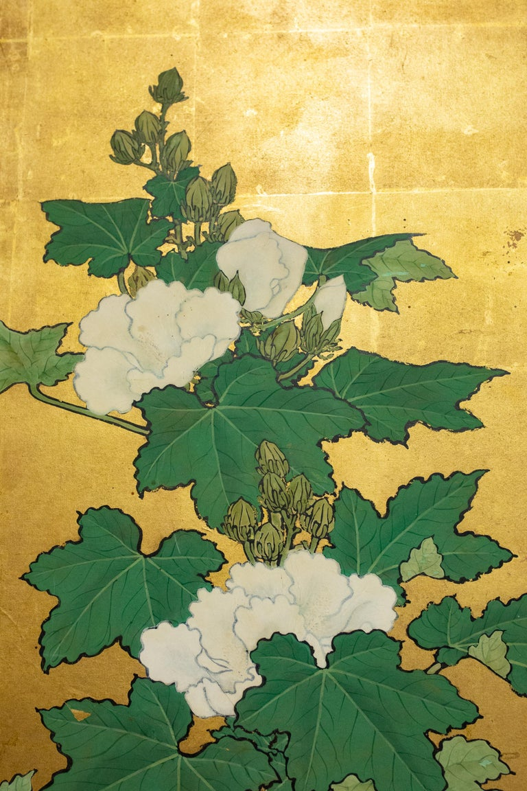 Japanese Two-Panel Screen, Hollyhocks In Good Condition For Sale In Hudson, NY