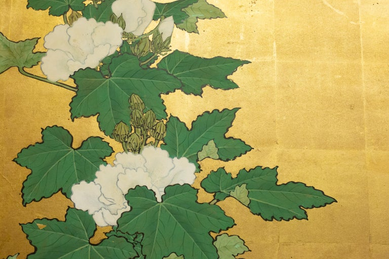 19th Century Japanese Two-Panel Screen, Hollyhocks For Sale