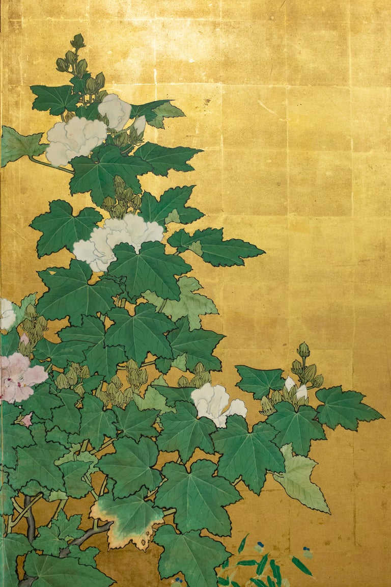Gold Leaf Japanese Two-Panel Screen, Hollyhocks For Sale