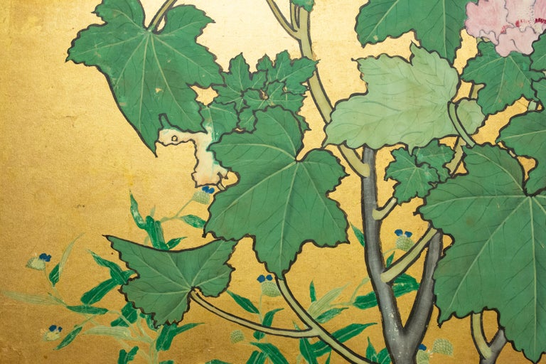 Japanese Two-Panel Screen, Hollyhocks For Sale 1