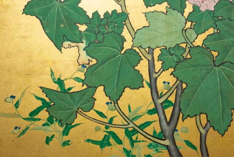Japanese Two-Panel Screen, Hollyhocks For Sale 3