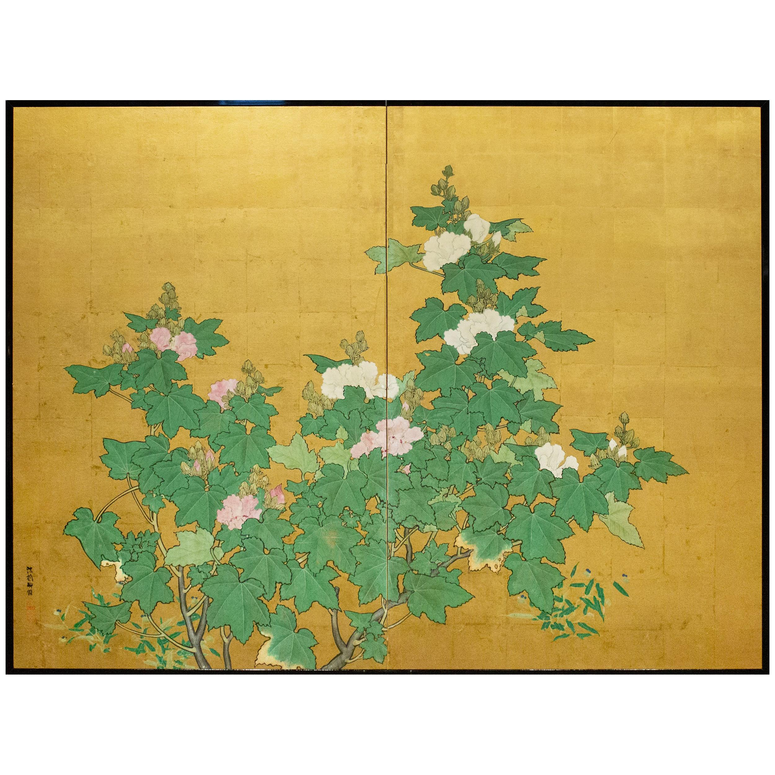 Japanese Two-Panel Screen, Hollyhocks