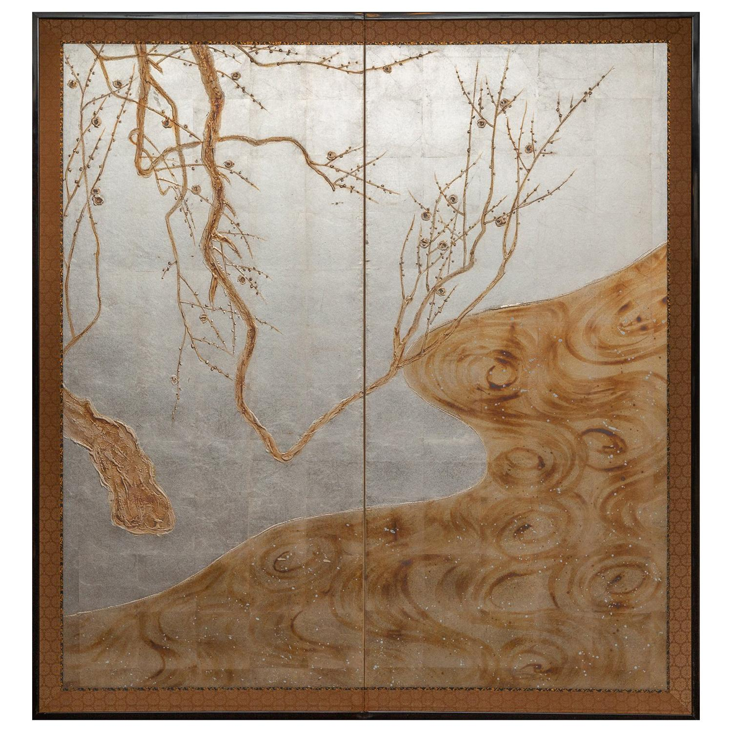 """Japanese Two-Panel Screen """"Flowering Tree by Edge of a Stream"""""""
