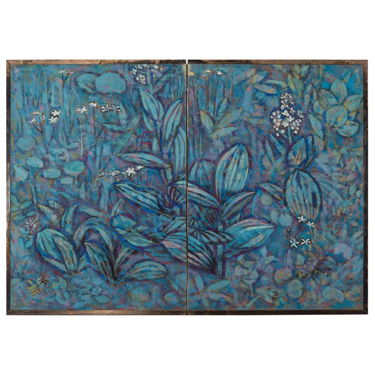 """Japanese Two-Panel Screen """"Flowers of the Highland"""" For Sale"""