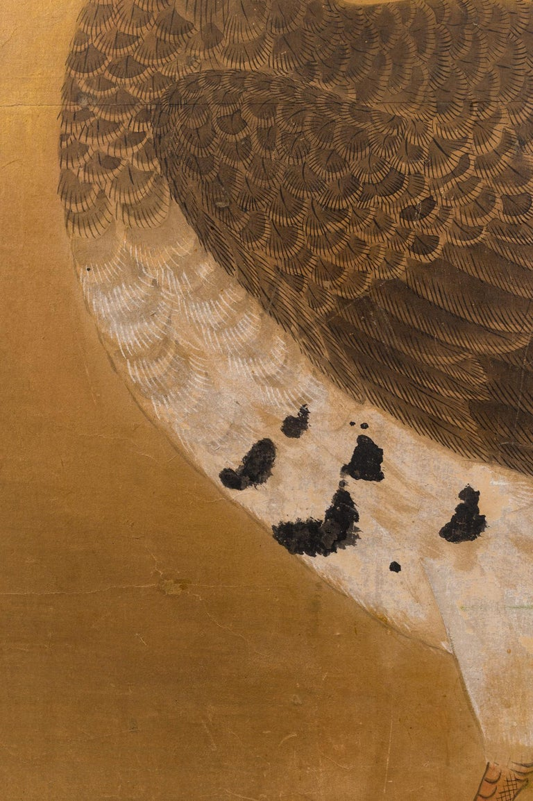 Early 19th Century Japanese Two-Panel Screen Geese on Gold For Sale
