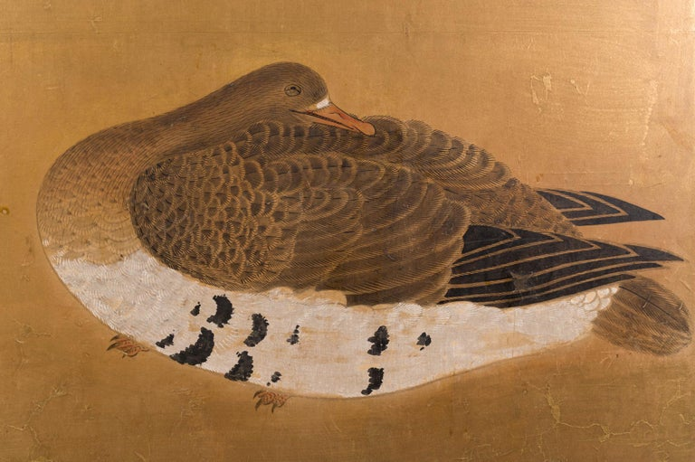 Edo Japanese Two-Panel Screen Geese on Gold For Sale