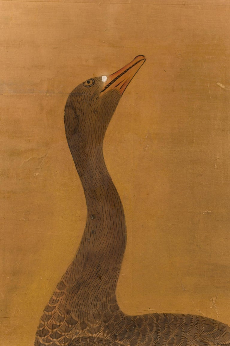 Japanese Two-Panel Screen Geese on Gold For Sale 1