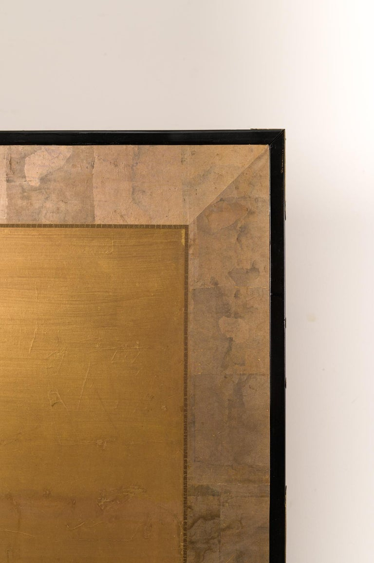 Japanese Two-Panel Screen Geese on Gold For Sale 2