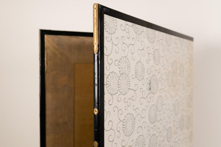 Japanese Two-Panel Screen Geese on Gold For Sale 3