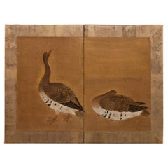 Japanese Two-Panel Screen Geese on Gold