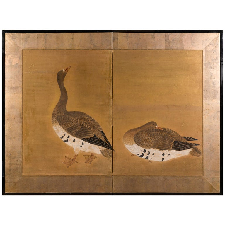 Japanese Two-Panel Screen Geese on Gold For Sale