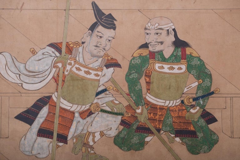Japanese Two Panel Screen: Genpei Warriors For Sale 5