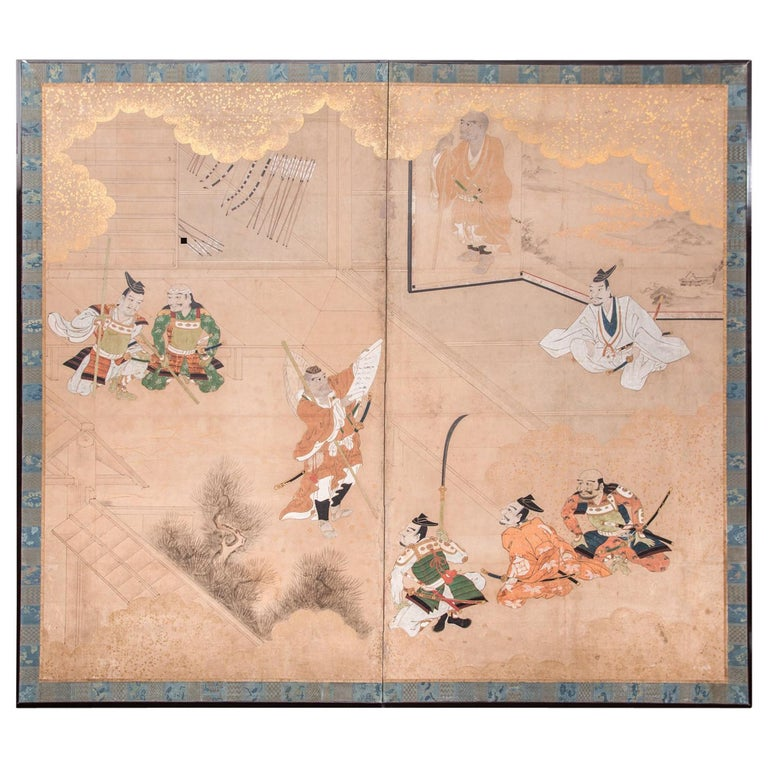 Japanese Two Panel Screen: Genpei Warriors For Sale