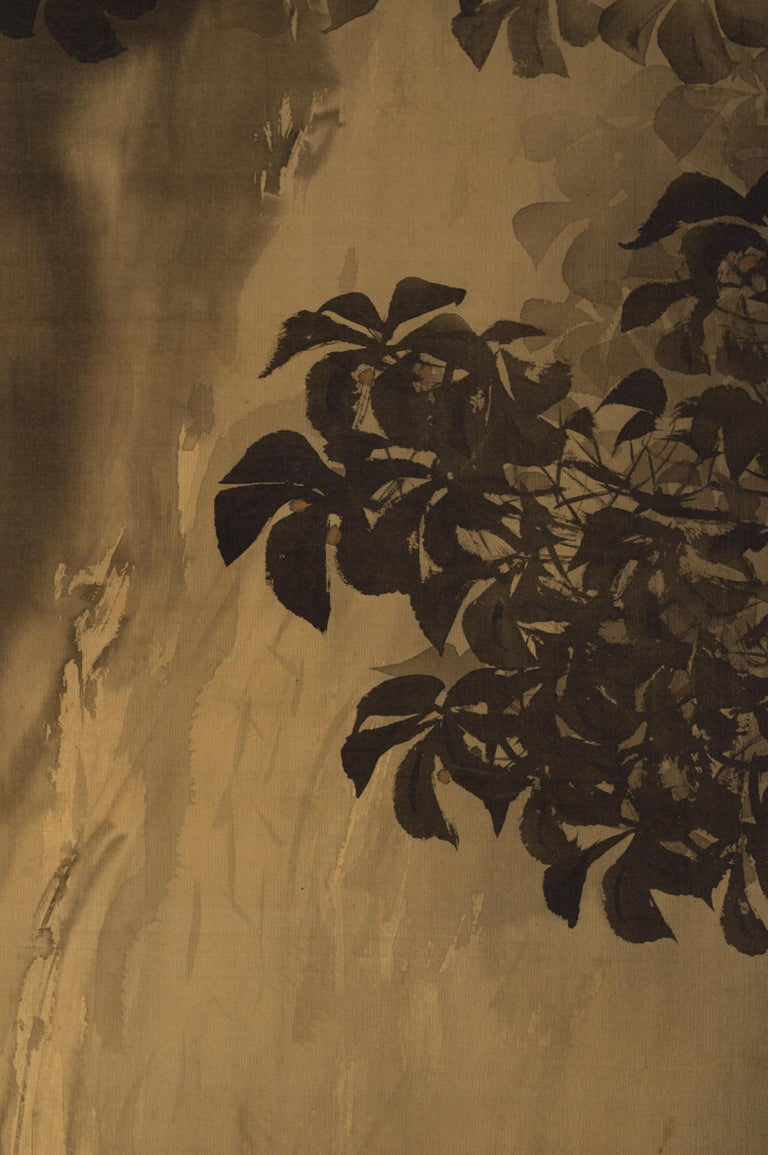 Early 20th Century Japanese Two-Panel Screen, Gibbons in the Wild For Sale