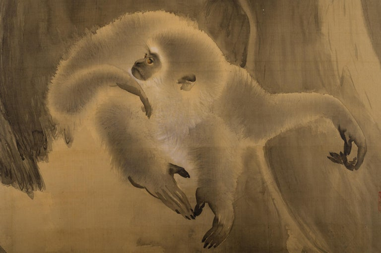 Japanese two-panel screen, gibbons in the wild, masterfully executed ink painting (sumi-e) of a gibbon at the base of an ancient tree. Wonderful examples of brushwork and different painting techniques. Meiji period (1868-1912) painting in ink on