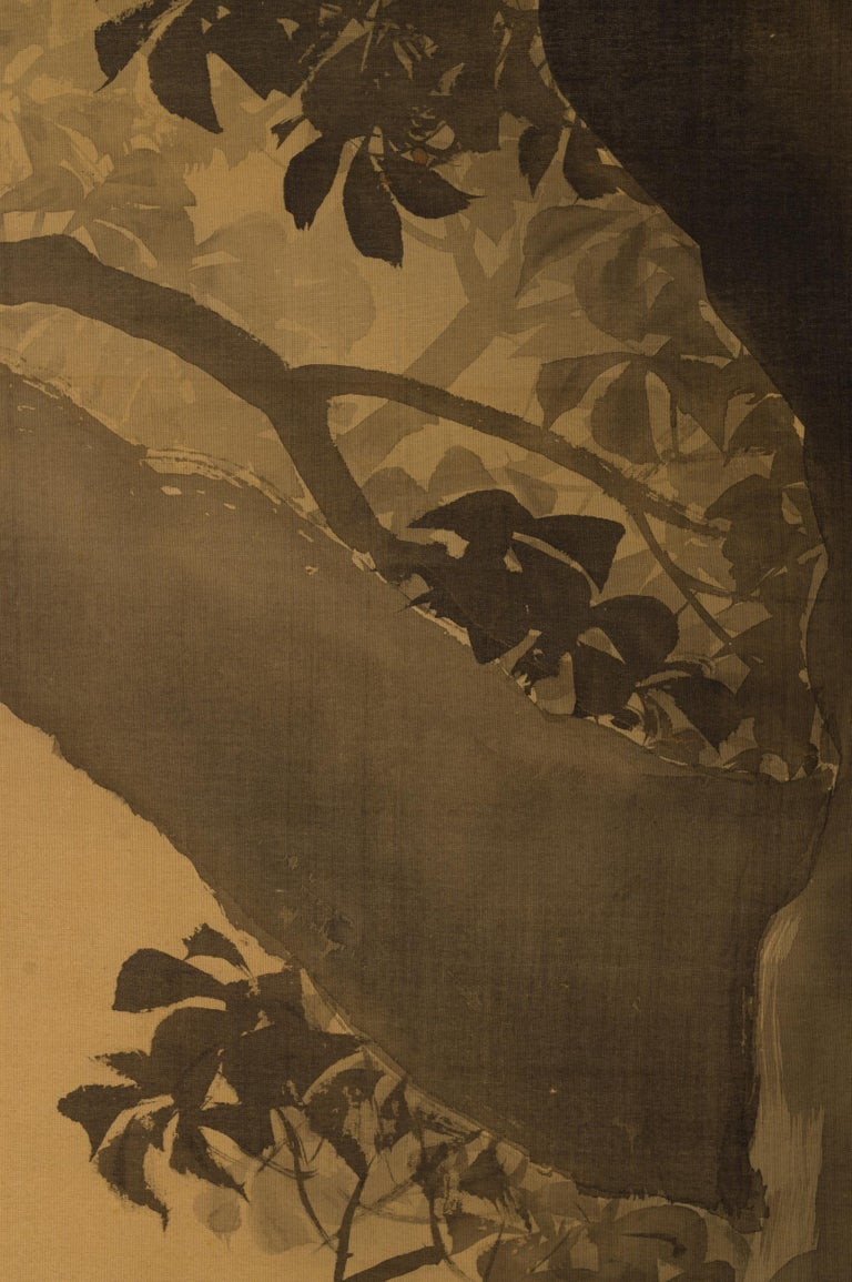 Japanese Two-Panel Screen, Gibbons in the Wild In Good Condition For Sale In Hudson, NY